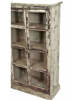 Presklená skrinka z teakového dreva, 143x33x130cm