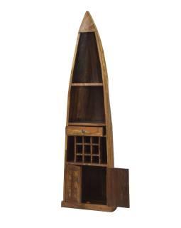 Knižnica / vinotéka z mangového dreva v tvare lode, 58x45x210cm