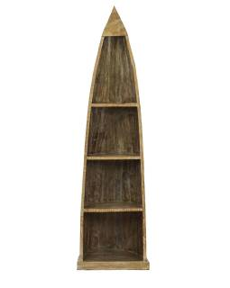 Knižnica z mangového dreva v tvare lode, 59x45x210cm