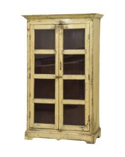 Presklená skrinka z teakového dreva, 101x48x169cm