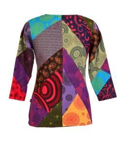 Multifarebné patchworkovej tričko s dlhým rukávom