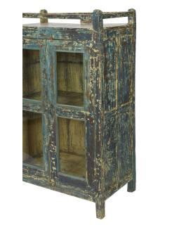 Presklená skrinka z teakového dreva, 83x48x139cm