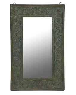 Zrkadlo v ráme z teakového dreva, ručne vyrezávané, 55x3x89cm