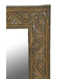 Zrkadlo v ráme z teakového dreva, ručne vyrezávané, 55x3x82cm
