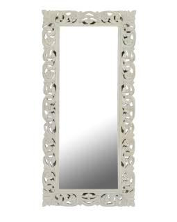 Biele ručne vyrezávané zrkadlo z mangového dreva, 60x4x130cm