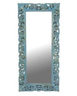 Tyrkysové ručne vyrezávané zrkadlo z mangového dreva, 60x4x130cm