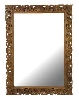 Ručne vyrezávané zrkadlo z mangového dreva, 90x4x120cm
