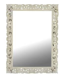 Biele ručne vyrezávané zrkadlo z mangového dreva, 90x4x120cm