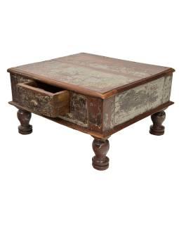 Stolček sa zásuvkou z teakového dreva, 54x46x30cm