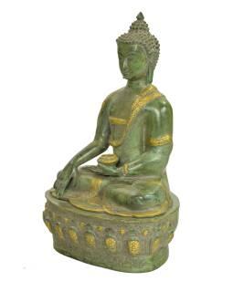 Budha Šákjamúni, antik zelená patina, mosadz, 35x30x52cm