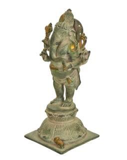 Ganéša, mosadzná socha, 10x10x24cm