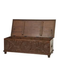 Truhla z mangového dreva zdobená ručnými rezbami, 150x60x50cm