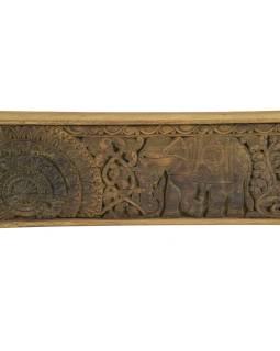 Vyrezávaný panel so slonmi, 152x5x15cm