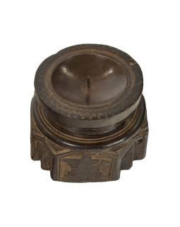 Drevený svietnik zo starého teakového stĺpa, 15x15x11cm