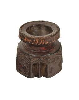 Drevený svietnik zo starého teakového stĺpa, 10x10x10cm