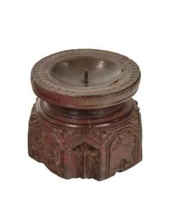 Drevený svietnik zo starého teakového stĺpa, 11x11x10cm