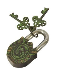 Visiaci zámok, Lakšmí, zelená patina mosadz, dva kľúče v tvare Dorji, 9cm