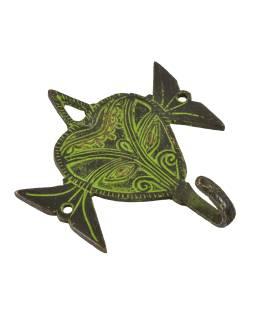 """Vešiačik hlava slona, """"Tribal Art"""", zelená patina, mosadz, jeden háčik, 11cm"""