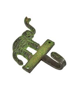"""Vešiačik slon, """"Tribal Art"""", zelená patina, mosadz, jeden háčik, 12cm"""