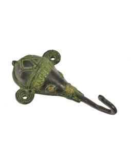 """Vešiačik Ganéša, hlava, """"Tribal Art"""", zelená patina, mosadz, jeden háčik, 13cm"""