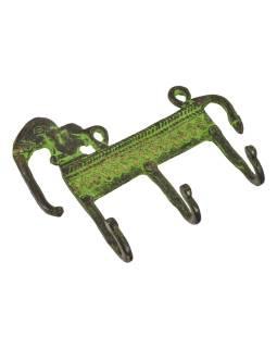 """Vešiačik slon, """"Tribal Art"""", zelená patina, mosadz, tri háčiky, 14cm"""