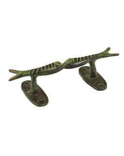 """Dverné madlo, """"Tribal Art"""", zelená patina, mosadz, 15cm"""