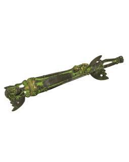 """Dverné madlo, """"Tribal Art"""", zelená patina, mosadz, 23cm"""