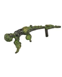 """Dverné madlo, """"Tribal Art"""", zelená patina, mosadz, 33cm"""