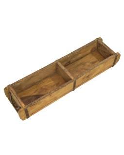 Truhlík pod kvetináč z teakového dreva, pôvodne forma na tehly, 60x15x9cm