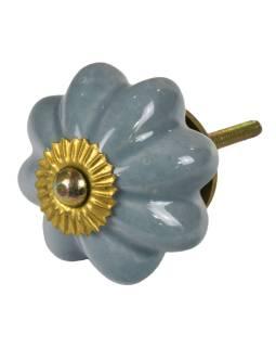 Maľované porcelánové madlo na šuflík, šedej, tvar kvety, priemer 5cm
