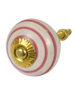 Maľované porcelánové madlo na šuflík, biele, ružové prúžky, priemer 3,7 cm