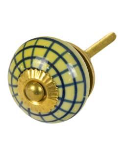 Maľované porcelánové madlo na šuflík, svetlo žltej, modrá mriežka, 3,7cm