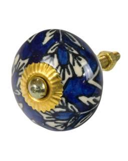 Maľované porcelánové madlo na šuflík, tmavo modrej, biela kvetina, priemer 4 cm