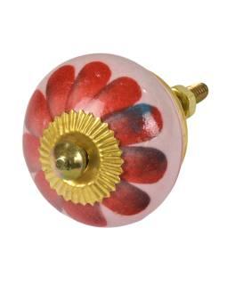 Maľované porcelánové madlo na šuflík, svetlo ružové, červená kvetina, 3,7cm