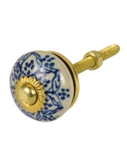 Maľované porcelánové madlo na šuplík, biele, modrá mandala, priemer 3 cm