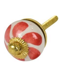 Maľované porcelánové madlo na šuflík, biele, červené lístky, priemer 2,7 cm