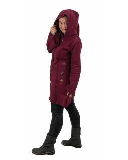 Vínový fleecový kabátik s dlhou kapucňou, zapínanie na zips, výšivka