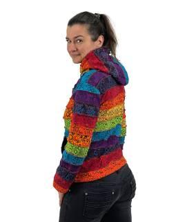 Multifarebná patchworková mikina s kapucňou a potlačou, podšitá flísom, vrecká, zips