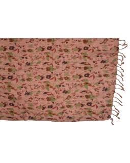 Šatka, bavlna, ružový, tlač kvety, mačkaná úprava, strapce, pružný 67až100x162cm
