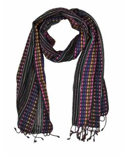Dlhý šatka s farebným protkáváním a strapcami, čierny, 48x176cm