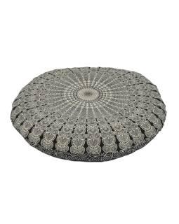 Meditačné vankúš, guľatý, čierno-biely, 80x10cm
