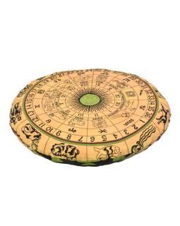 Meditačné vankúš, guľatý, žltý, potlač zverokruh, 80x10cm