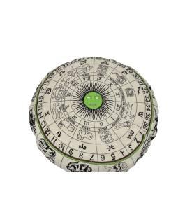 Meditačné vankúš, guľatý, bielo-zelený, potlač zverokruh, 80x10cm