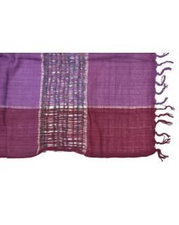 Šatka, štvorce, pruhy, strapce, odtiene fialovej, 56x190cm