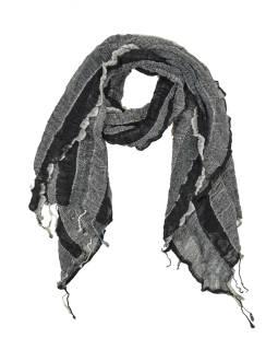 Šatka, wrap prúžky, elastický, čierno-šedý, strapce, bavlna, 58x160 až 180cm