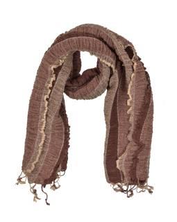 Šatka, wrap prúžky, elastický, odtiene hnedej, strapce, bavlna, 58x160 až 180cm
