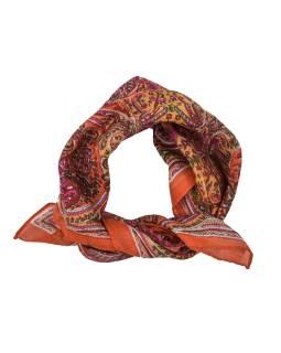 Šatka, štvorcový, oranžový, farebný paisley tlač, bavlna, 50x50cm
