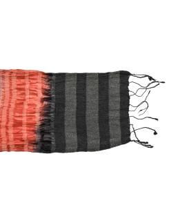 Šatka, hodváb, farebný, lurex, žabičkování, strapce, 160 * 23 až 50cm