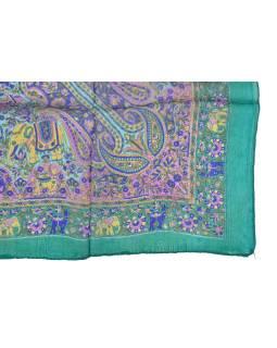 Šatka z hodvábu, štvorec, paisley potlač, smaragdový, 100x100cm
