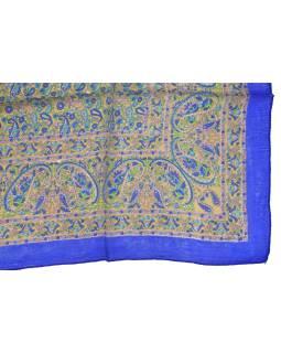 Šatka z hodvábu, štvorec, paisley potlač, modrý, 100x100cm